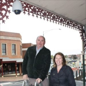 Right: In 2010, Catherine King MP posed for photos of the new security camera (upper left) on the McDonalds' building on Bakery Hill, Ballarat, installed under virtually the same program as just re-announced in the 2014 budget.