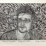 Felipe Crespo 2013- Recorded with the woodcut technique over former employee of the CIA, Edward Snowden.