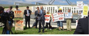 TPP Protest speakers at  Parliament House