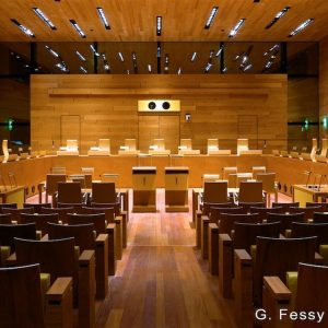 Right: A courtroom of the Court of Justice of the European Union in Luxembourg.
