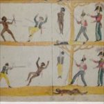 Section of a government-issued pictograph in the New South Wales colony's early days showing how Aborigines would be treated 'equally' under British law.