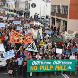 Left: Protestors in launceston protest against the proposed Gunns pulp mill. John McLaine photo
