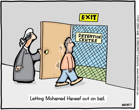 """In Dr Mohamed Haneef's case, Minister Kevin Andrews was found to have made a """"jurisdictional error"""". Here's how John Ditchburn of Inkcinct Cartoons saw it."""