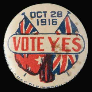 Photo: Conscription vote badge…pic: Jason McCarthy NMoA
