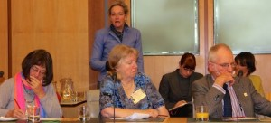 MP Alannah MacTiernan (Lab, Perth) speaks at the forum, with Ann Darbyshire and Pauline Westwood of Civil Liberties Australia and Albert Thomas of the ACT Vintage Reds group all listening intently in the foreground.