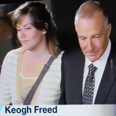 Photo: Henry Keogh walks free from court, with his daughter Alexis who grew up without him, in December 2104 after two decades of being wrongly imprisoned in South Australia.